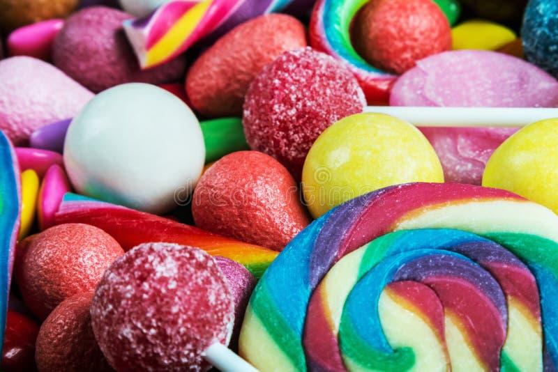 Fondo de la variedad de dulces, piruletas, chicle imagenes de archivo