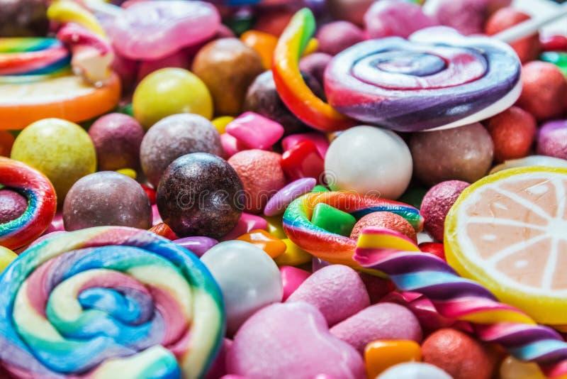 Fondo de la variedad de dulces, piruletas, chicle, candi foto de archivo libre de regalías