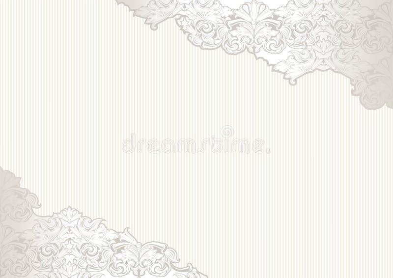 Fondo de la vendimia con el lugar para el texto Blanco, elegante, lujo con el ornamento brillante y barroco de la perla-plata stock de ilustración