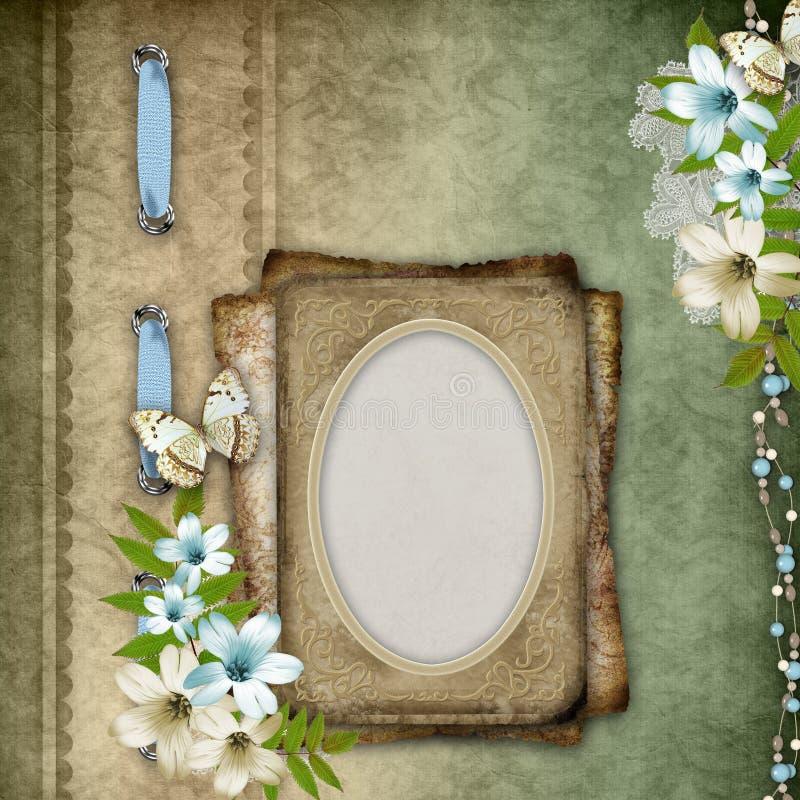 Fondo de la vendimia con el marco, composición de la flor stock de ilustración