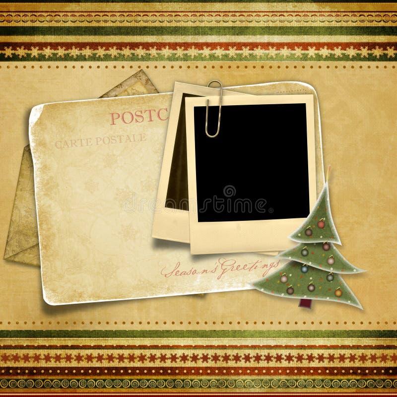 Fondo de la vendimia con la tarjeta de Navidad vieja fotos de archivo libres de regalías