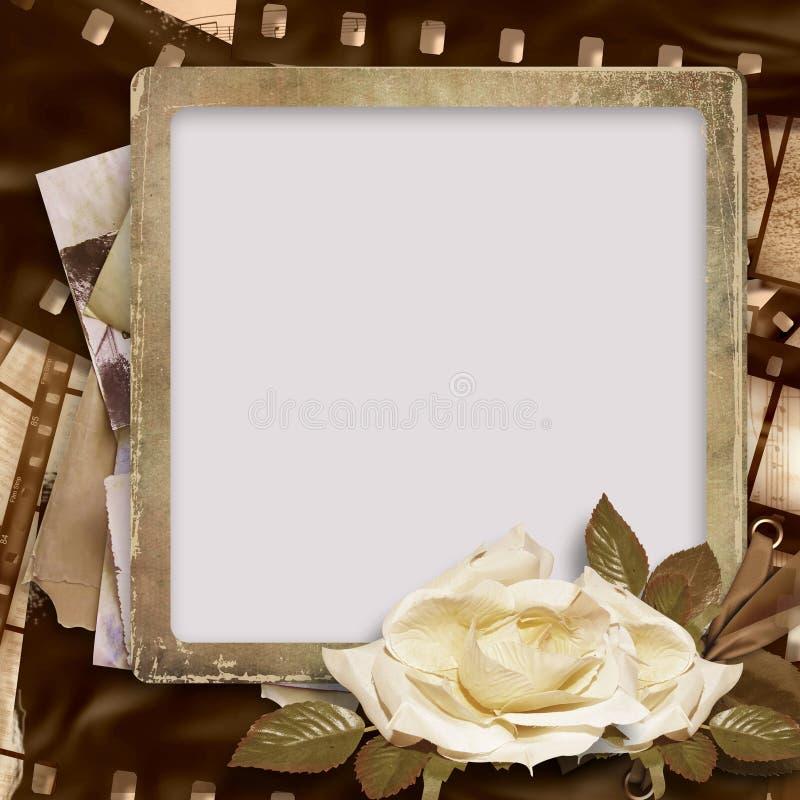 Fondo de la vendimia con la tira del foto-marco y de la película stock de ilustración