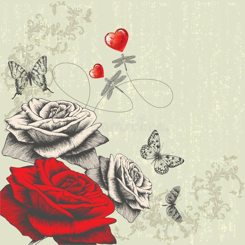 Fondo de la vendimia con las rosas, mariposas, dragón stock de ilustración