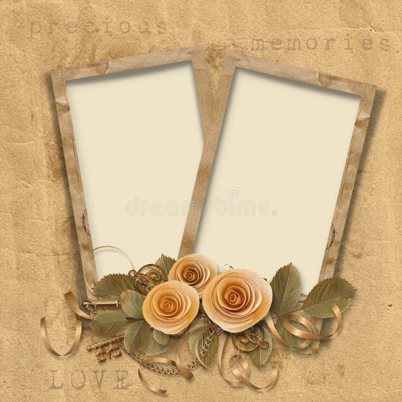 Fondo de la vendimia con los marcos y las rosas stock de ilustración