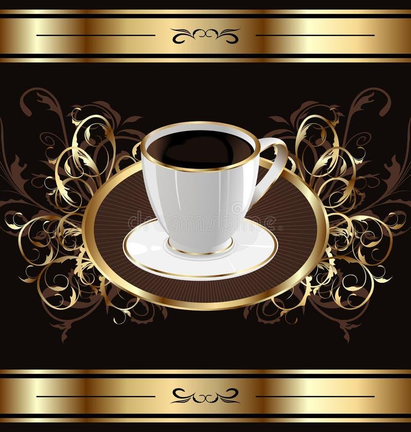 Fondo de la vendimia para el café del embalaje, taza de café ilustración del vector
