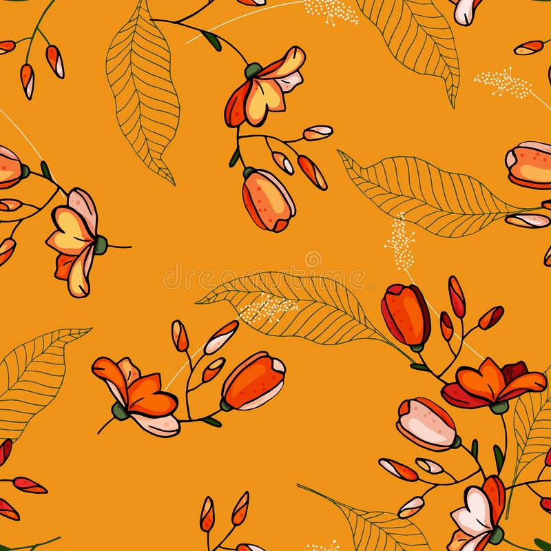 Fondo de la vendimia wallpaper Flores aisladas realistas florecientes Mano drenada Ilustraci?n del vector Flor incons?til de moda stock de ilustración