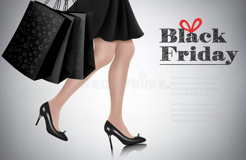 Fondo de la venta de Black Friday con la mujer elegante de las compras stock de ilustración