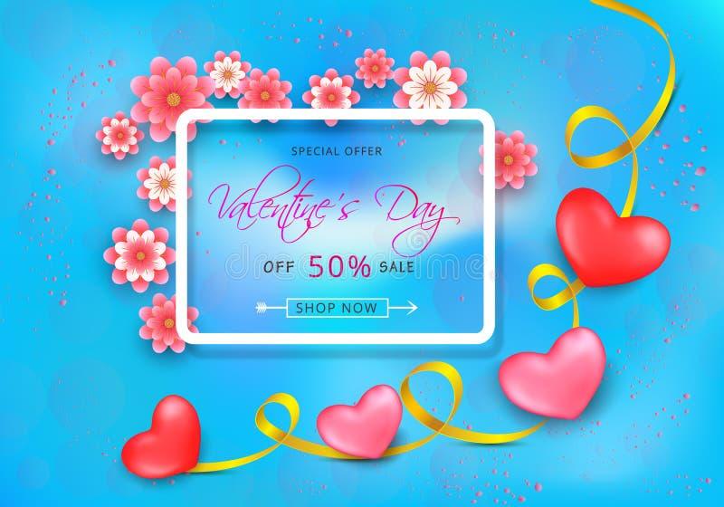 Fondo de la venta de día de San Valentín con los corazones rojos y rosados con las cintas de oro libre illustration