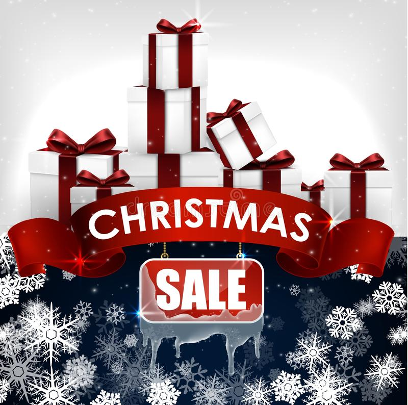 Fondo de la venta de la Navidad con las cajas realistas rojas de la bandera y de regalo de la cinta ilustración del vector