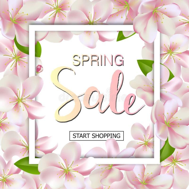 Fondo de la venta de la primavera con las flores Diseño de la bandera del descuento de la estación con las flores de cerezo y los stock de ilustración