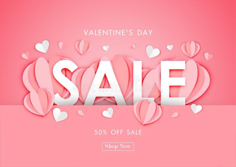 Fondo de la venta del día de tarjeta del día de San Valentín con el arte de papel de la forma del corazón de la papiroflexia, pla stock de ilustración