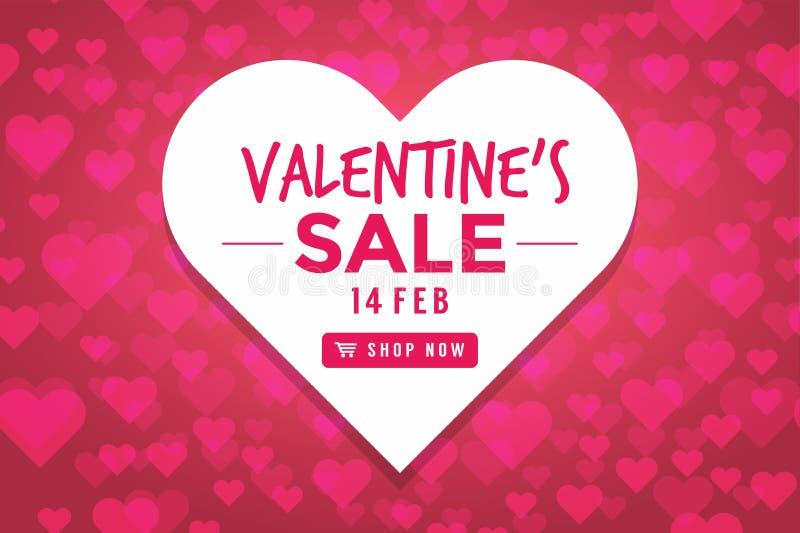 Fondo de la venta del día de tarjetas del día de San Valentín con en forma de corazón ilustración del vector