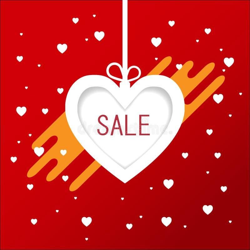 Fondo de la venta del día de tarjetas del día de San Valentín en globos en forma de corazón Ilustración del vector banderas folle imagen de archivo