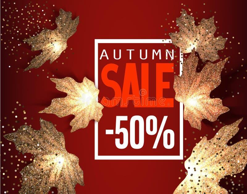 Fondo de la VENTA del otoño con las hojas de arce del oro que caen stock de ilustración