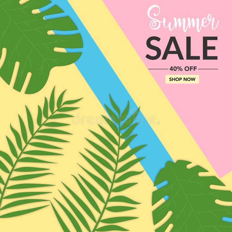 Fondo de la venta del verano con el estilo de Memphis de la hoja libre illustration