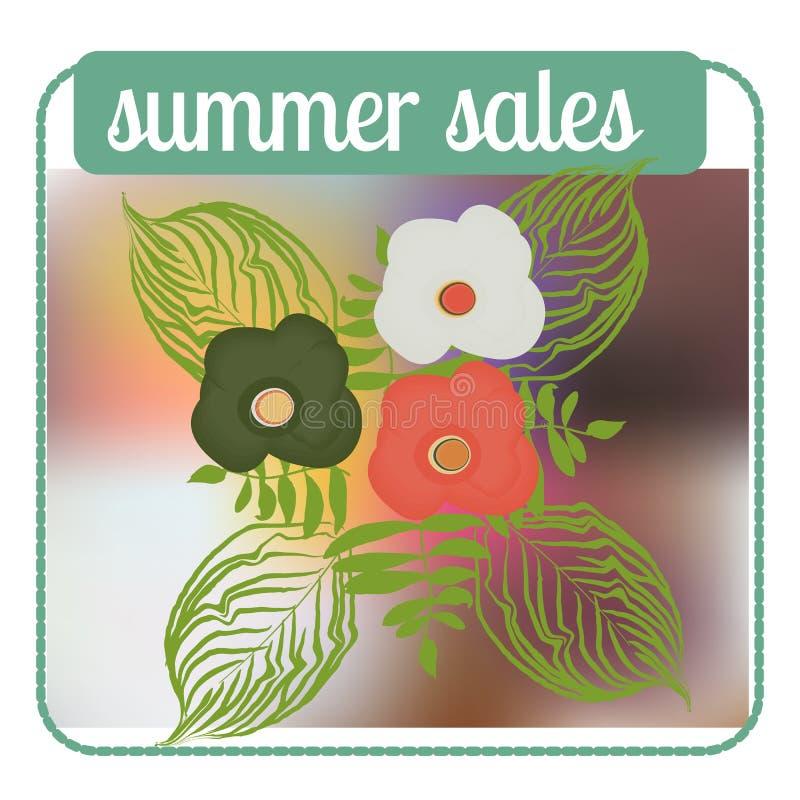 Fondo de la venta del verano con la palma Vector el fondo para la bandera, cartel, aviador, tarjeta, postal, cubierta, folleto ilustración del vector