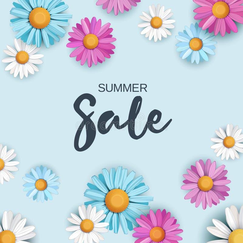 Fondo de la venta del verano con las flores coloridas de la margarita libre illustration