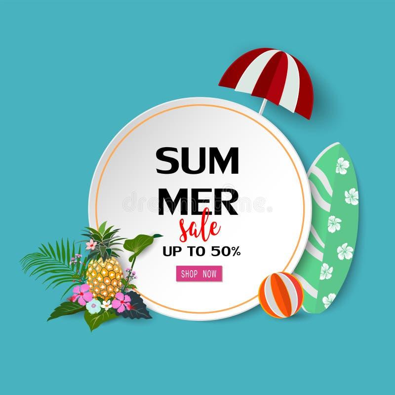 Fondo de la venta del verano con las flores y las hojas tropicales, diseño exótico para la tarjeta de la bandera, del aviador, de libre illustration