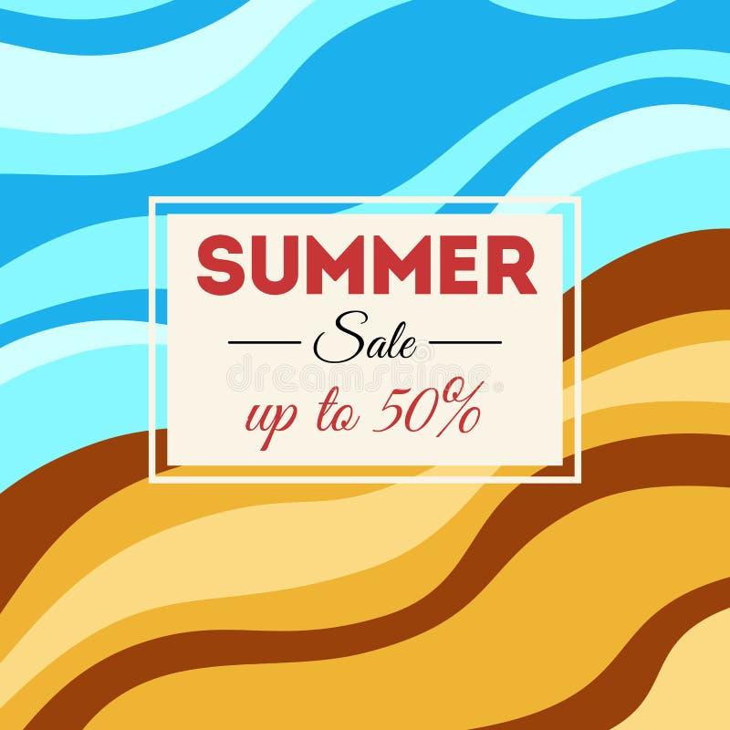 Fondo de la venta del verano con las rayas onduladas libre illustration
