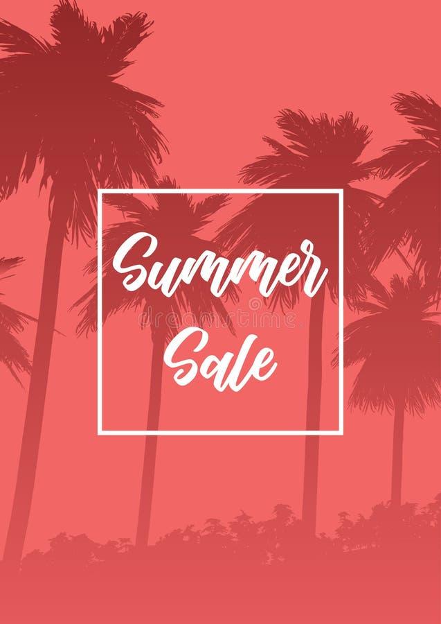 Fondo de la venta del verano con las siluetas de la palmera stock de ilustración