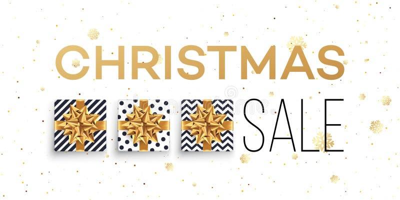 Fondo de la venta de la Navidad con las cajas de regalos con el arco del oro modelo ilustración del vector