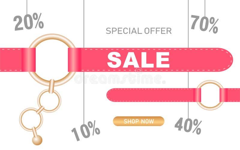 Fondo de la venta para las mercancías y las tiendas de las mujeres Cadenas y anillos del vector con las correas rosadas stock de ilustración