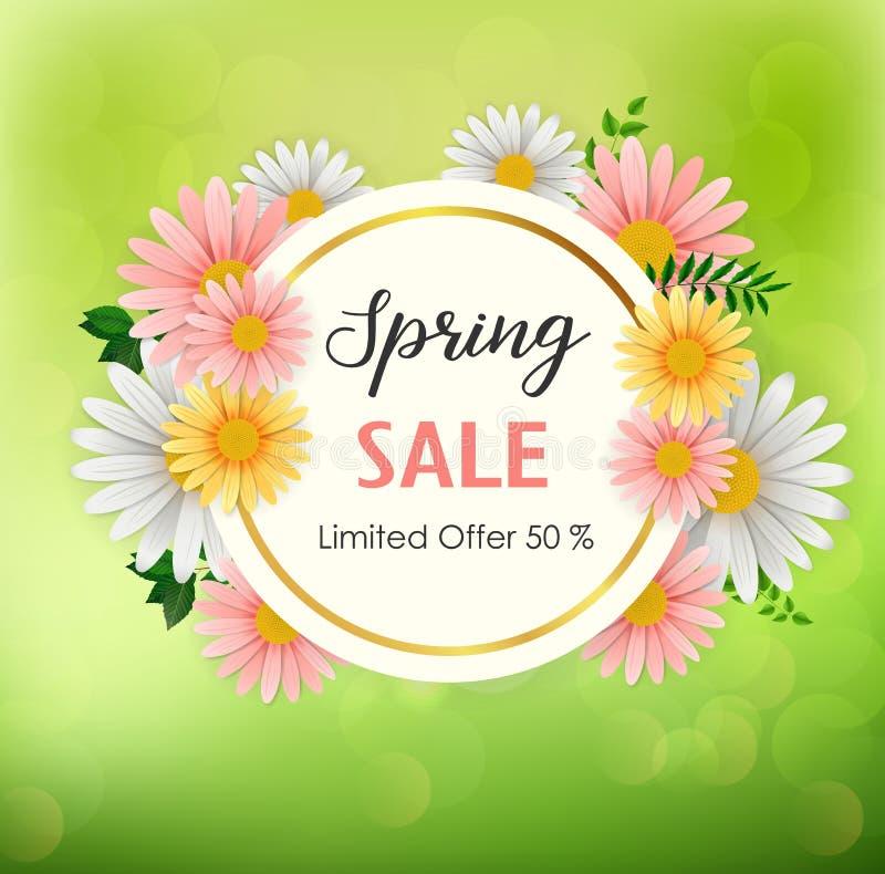 Fondo de la venta de la primavera con la flor hermosa y el marco redondo libre illustration