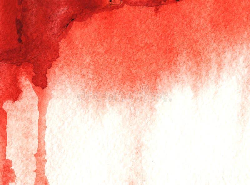 Fondo de las acuarelas abstractas. Fondo rojo y blanco con goteo de pintura roja en sangre sobre papel texturado granulado stock de ilustración