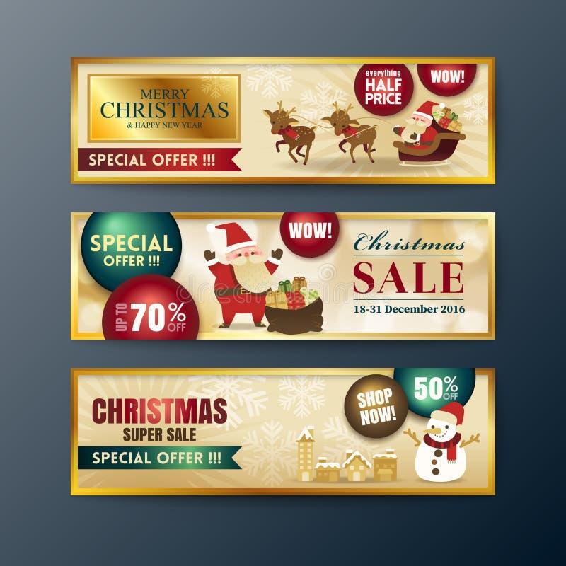 Fondo de las banderas de la venta de la Navidad del oro libre illustration