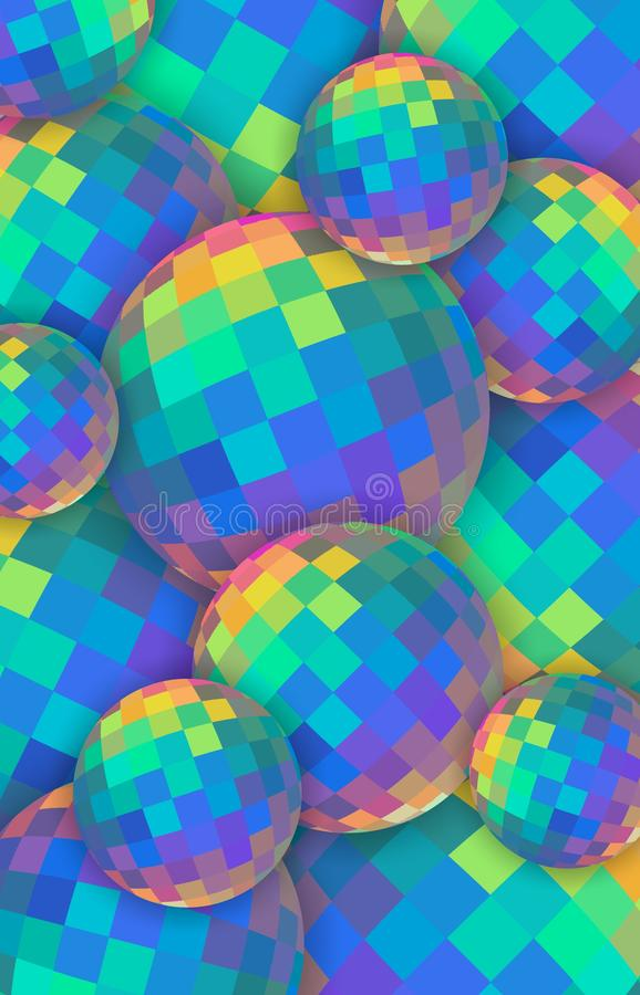 Fondo de las bolas de cristal 3d del arco iris Esferas de cristal iridiscentes rojas verdes amarillas azules Bandera vertical cre ilustración del vector