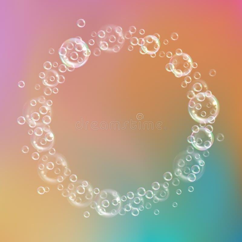 Fondo de las burbujas de jab?n stock de ilustración