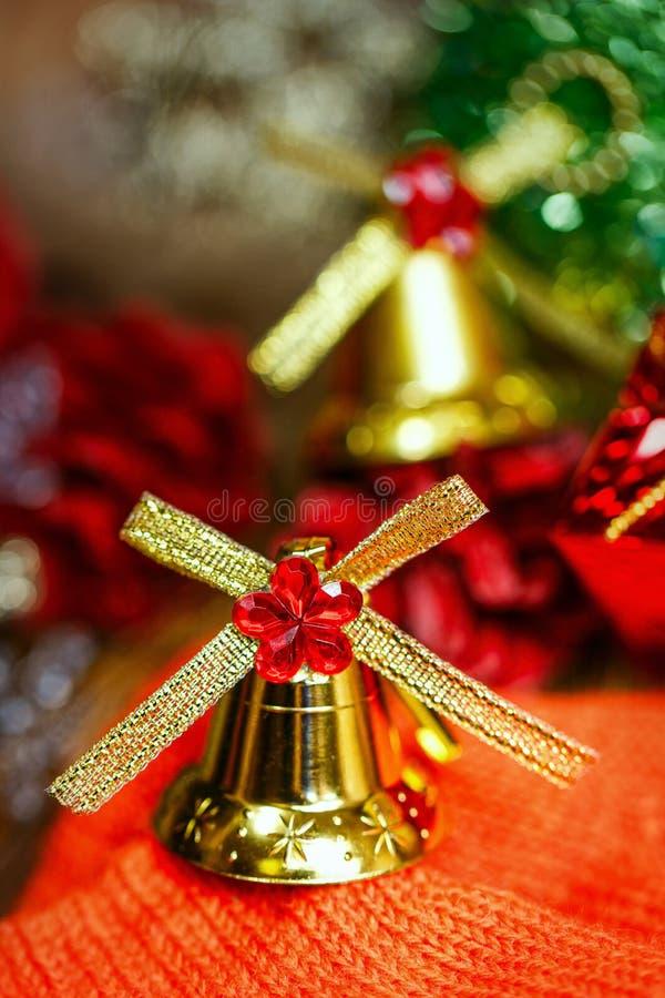 Fondo de las campanas de la Navidad imagenes de archivo