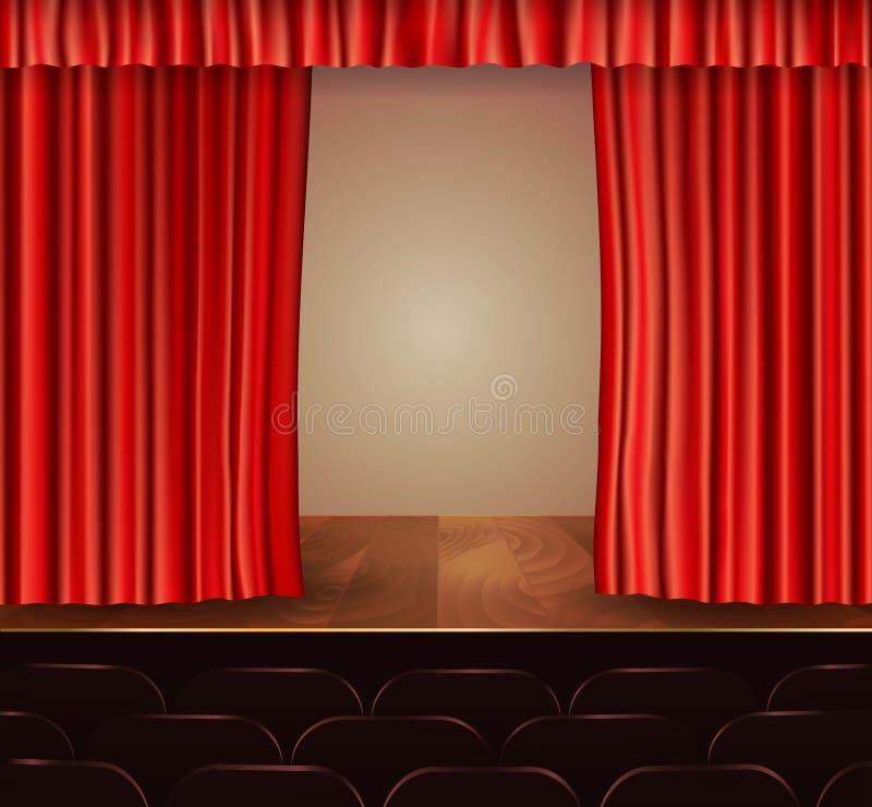 Fondo de las cortinas del teatro ilustración del vector