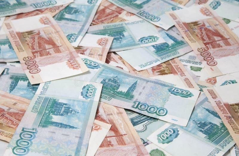 Fondo de las cuentas rusas de las rublos imagenes de archivo