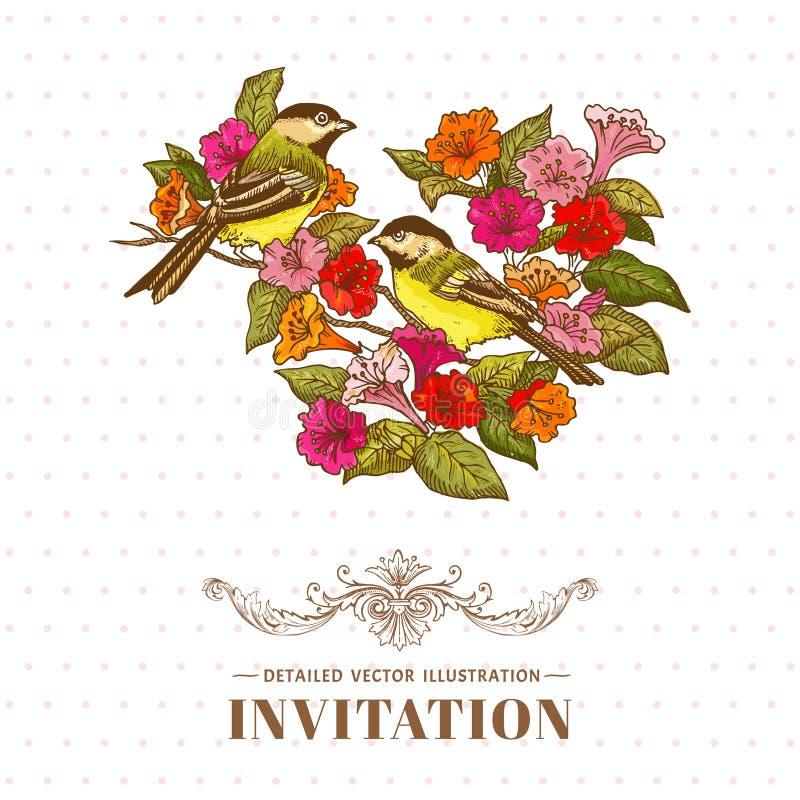 Fondo de las flores y de los pájaros stock de ilustración