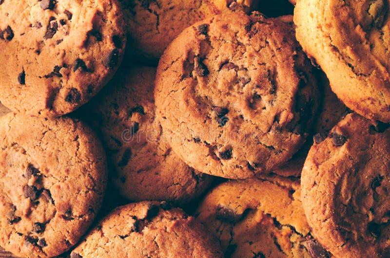 Fondo de las galletas del chocolate - primer imagenes de archivo