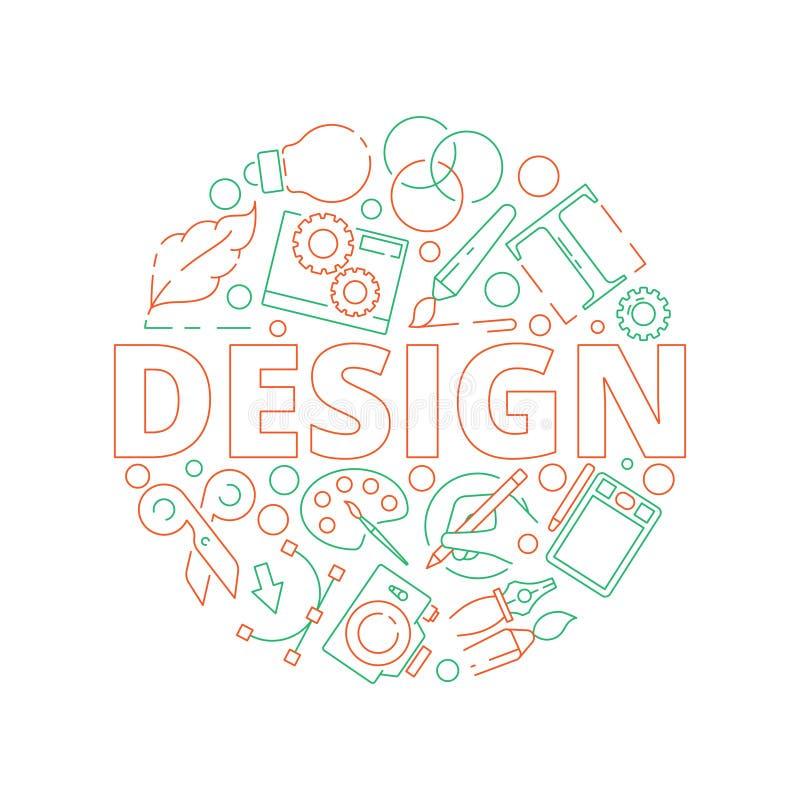 Fondo de las herramientas de diseño gráfico Artículos creativos del arte del diseño web de la tipografía de la impresión en libre illustration