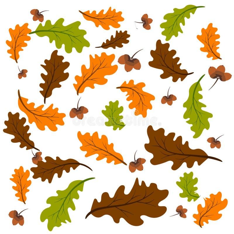 Fondo de las hojas del roble ilustración del vector