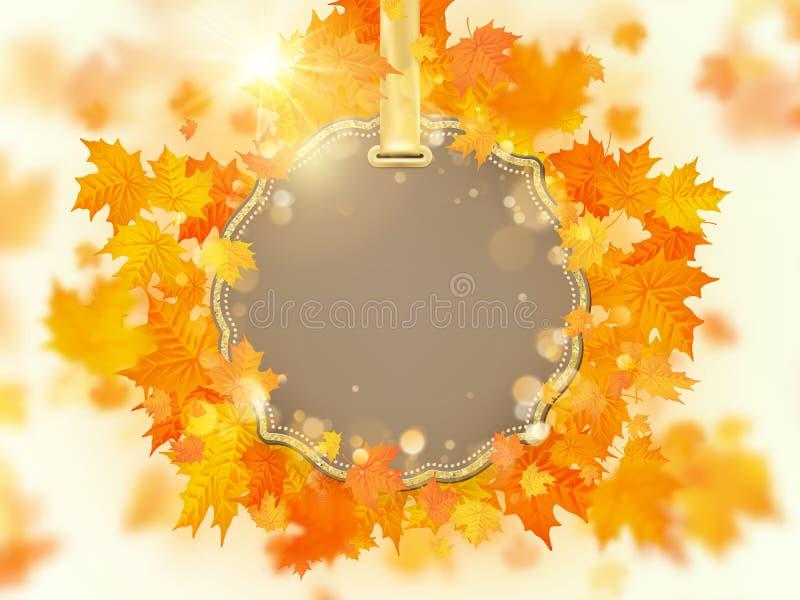 Fondo de las hojas de otoño con caer roja, anaranjada, y amarilla EPS 10 ilustración del vector