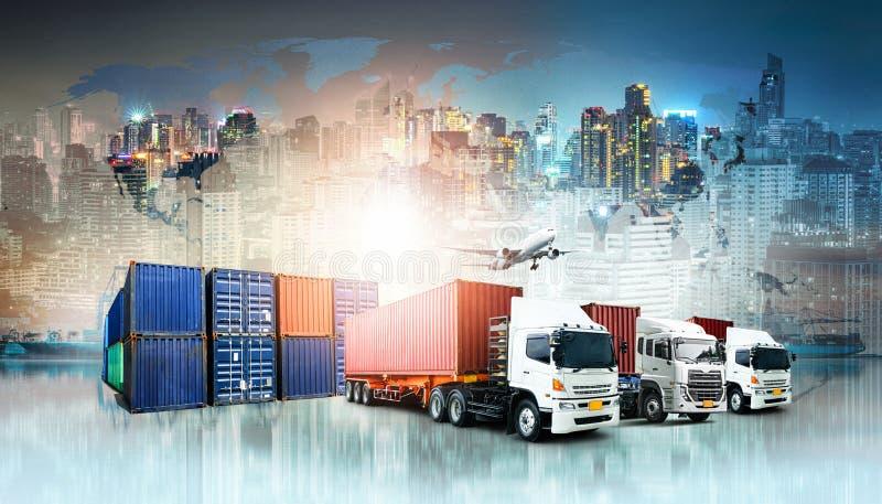 Fondo de las importaciones/exportaciones de la logística de negocio global y nave de la carga del cargo del envase stock de ilustración