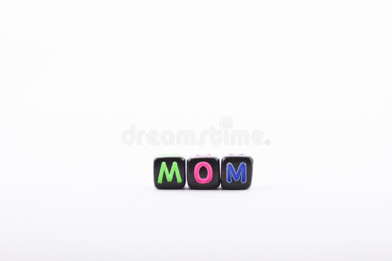 fondo de las letras del cubo, de las letras de la madre, colorido y variado, blanco foto de archivo libre de regalías