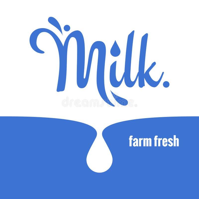 Fondo de las letras del logotipo del chapoteo de la leche stock de ilustración