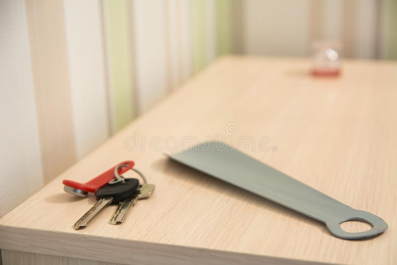 Fondo de las llaves al apartamento foto de archivo
