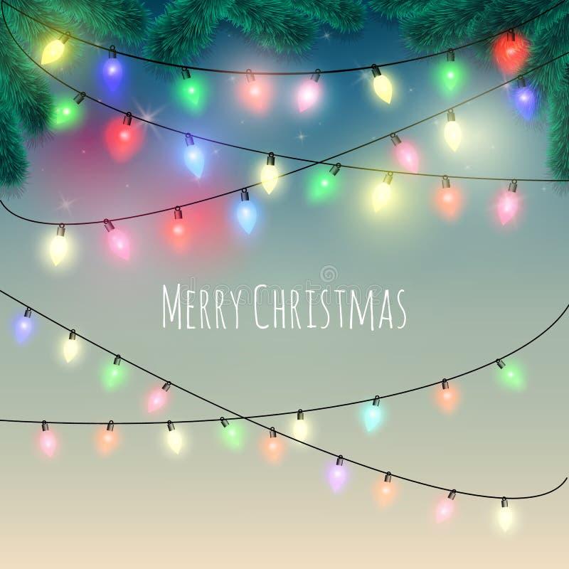 Fondo de las luces de la Navidad ilustración del vector