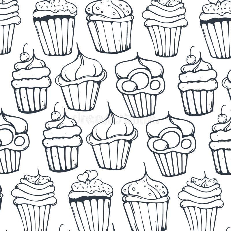 Fondo de las magdalenas de los bosquejos Tortas de cumpleaños, postres, estilo de dibujo de la mano libre illustration