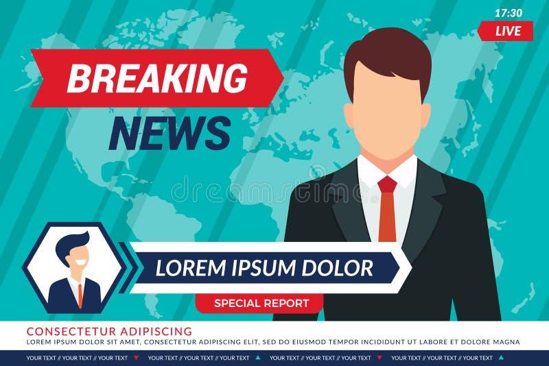 Fondo de las noticias de la TV Presentador de la televisión del deporte en la difusión del vector de las barras de las noticias d libre illustration