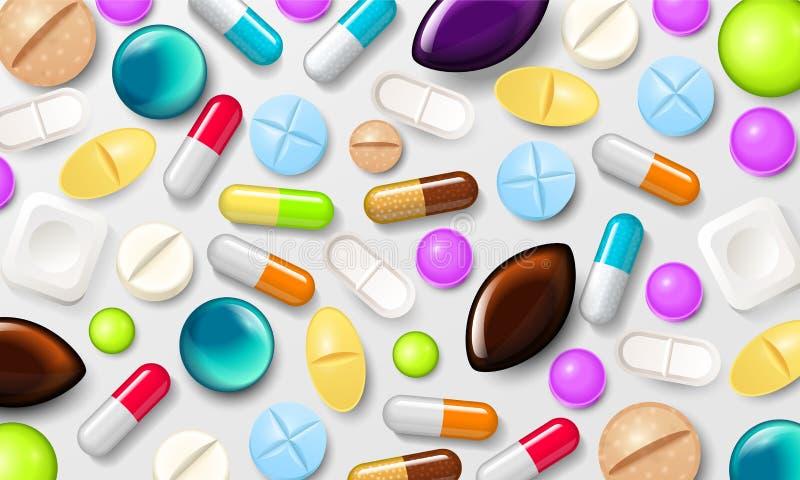 Fondo de las píldoras Tabletas de vitamina para la buena salud y las medicaciones antibióticos Bandera del cartel para el sitio w libre illustration