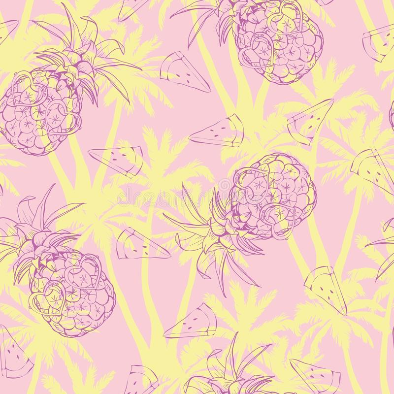 Fondo de las piñas Modelo inconsútil del vector con la fruta tropical Rebecca 36 Ejemplo del bosquejo stock de ilustración
