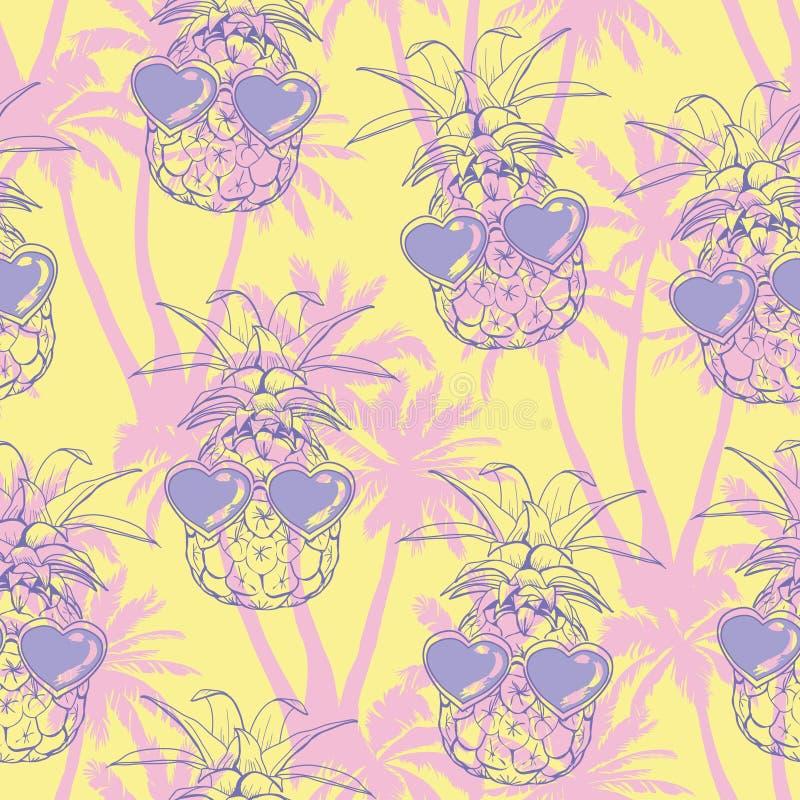 Fondo de las piñas Modelo inconsútil del vector con la fruta tropical Rebecca 36 Ejemplo del bosquejo libre illustration
