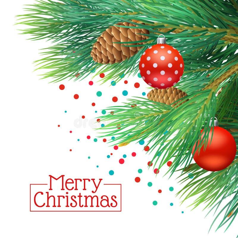 Fondo de las ramas de árbol de navidad ilustración del vector